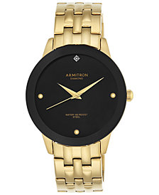 Armitron Men's Gold-Tone Diamond Accent Bracelet Watch 42mm 20-4952BKGP