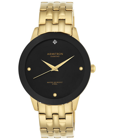 Armitron Men's Gold-Tone Diamond Accent Bracelet Watch 42mm 20-4952BKGP
