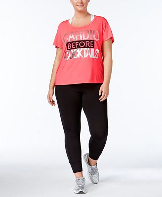 Material Girl Active Plus Size Metallic T-Shirt & Holographic Leggings, Only at Macy's