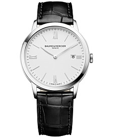 Men's Swiss Classima Black Leather Strap Watch 40mm M0A10323
