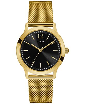 GUESS Men's Classic Gold-Tone Stainless Steel Mesh Bracelet Watch 37mm U0921G3