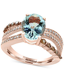 EFFY® Final Call Aquamarine (2-5/8 ct. t.w.) and Diamond (5/8 ct. t.w.) Ring in 14k Rose Gold