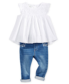 First Impressions Swiss-Dot Tunic & Embroidered Jeans, Baby Girls, Created for Macy's