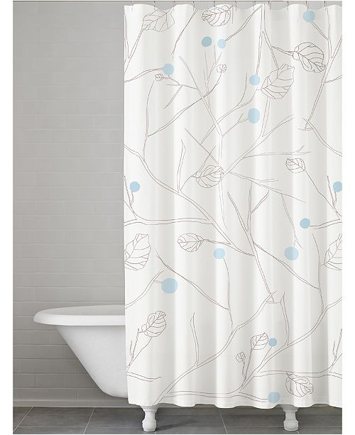 Kassatex Poppy Botanical Print Shower Curtain