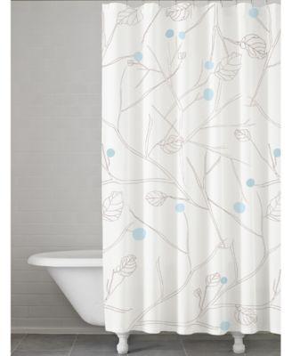 Kassatex Poppy Botanical Print Shower Curtain