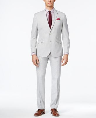Kenneth Cole Reaction Men's Slim-Fit Light Gray Micro-Check Suit ...