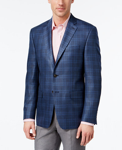 Lauren Ralph Lauren Men's Classic-Fit Blue Plaid Sport Coat ...