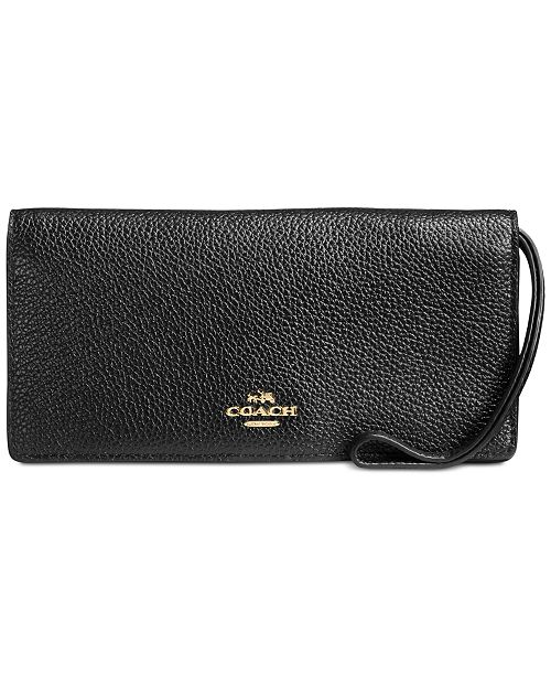 COACH Slim Wallet in Polished Pebble Leather