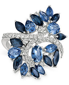 Le Vian Precious Collection® Sapphire (4-3/8 ct. t.w.) and Diamond (1/2 ct. t.w.) Statement Ring in 14k White Gold, Created for Macy's