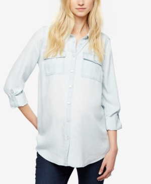 Image of A Pea In The Pod Maternity Chambray Button-Down