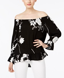 I.N.C. Petite Embrodiered Off-The-Shoulder Top
