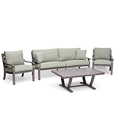 Tara Aluminum Outdoor 4-Pc. Seating Set (1 Sofa, 2 Club Chairs & 1 Coffee Table), Created for Macy's