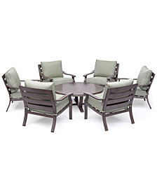 "Tara Aluminum Outdoor 7-Pc. Seating Set (48"" Round Table & 6 Club Chairs), Created for Macy's"