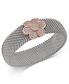 Diamond Mesh Flower Bangle Bracelet (7/8 ct. t.w.) in Sterling Silver and 14k Rose Gold-Plate