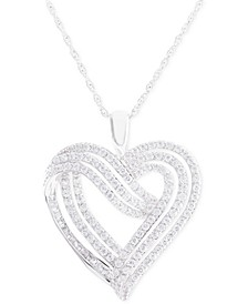 Diamond Heart Pendant Necklace (1 ct. t.w.) in 14k White Gold
