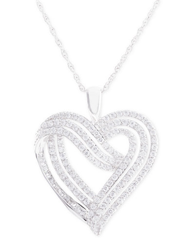 Diamond Heart Pendant Necklace (1 ct. t.w.) in 14k White Gold