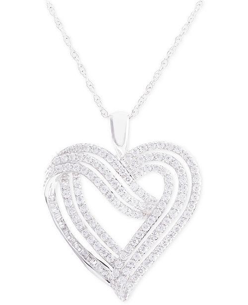 Macy's Diamond Heart Pendant Necklace (1 ct. t.w.) in 14k White Gold
