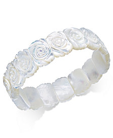 Mother Of Pearl Rose Carved Stretch Bracelet