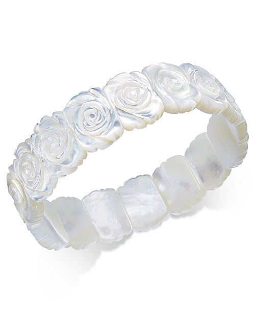 Macy's Mother-of-Pearl Rose Carved Stretch Bracelet