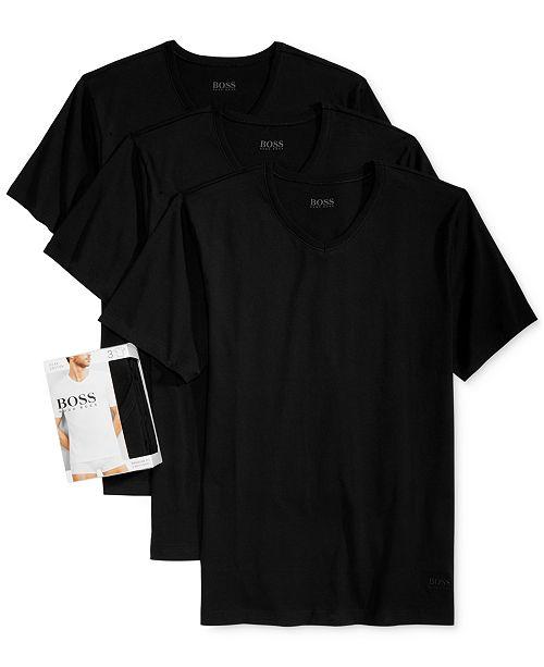Hugo Boss BOSS Men's Underwear, Cotton 3 Pack  V Neck Undershirts
