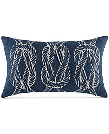 "CLOSEOUT! Tommy Hilfiger Robinson Knots Navy 12"" x 20"" Oblong Decorative Pillow"