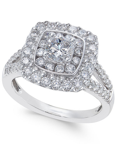 Diamond Cluster Engagement Ring (1-3/8 ct. t.w.) in 14k White Gold