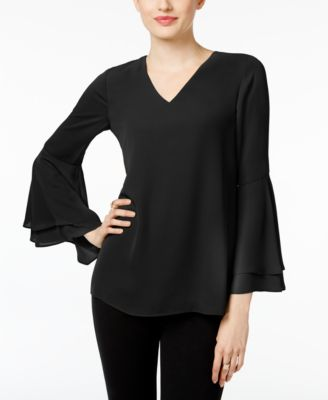 V-Neck Poet-Sleeve Top, Created for Macy's