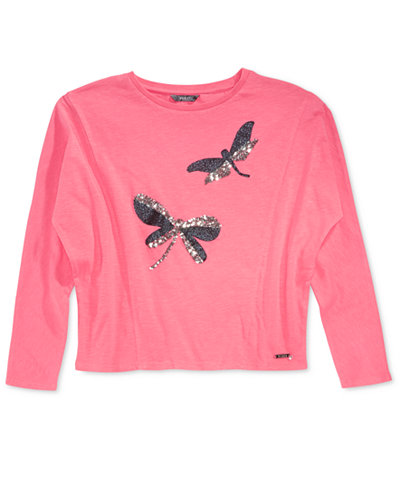 GUESS Sequin Dragonfly Knit Top, Big Girls (7-16)