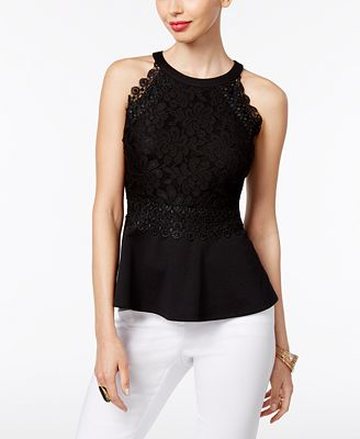 Thalia Sodi Lace Peplum Top, Only at Macy's