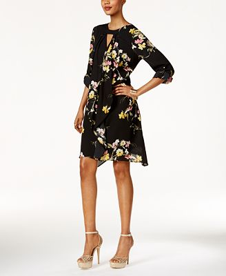 Thalia Sodi Floral-Print Draped Dress, Only at Macy's