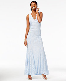 Morgan & Company Juniors' Open-Back Glitter-Lace Gown
