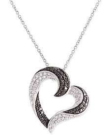 Diamond Pavé Heart Pendant Necklace (1/2 ct. t.w.) in Sterling Silver