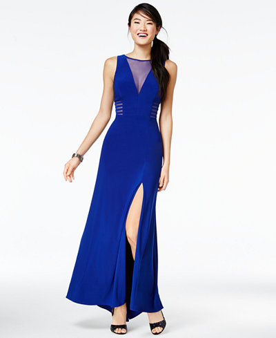 Morgan company juniors 39 illusion front slit a line gown for Macy black dress wear to wedding