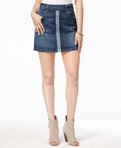 GUESS Two-Tone Denim Mini Skirt - Skirts - Women - Macy's
