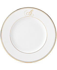 Lenox Federal Gold Monogram Dinner Plate, Script Letters