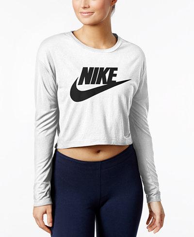 nike sportswear essential long sleeve cropped top tops. Black Bedroom Furniture Sets. Home Design Ideas