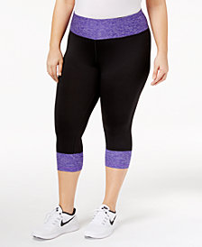 Ideology Plus Size Rapidry Colorblocked Cropped Leggings, Created for Macy's