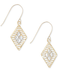 Two-Tone Openwork Geometric Drop Earrings in 10k Gold and White Gold