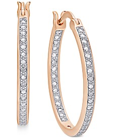 Diamond Hoop Earrings (1/2 ct. t.w.) in 18K Gold over Sterling Silver, 18K Rose Gold over Sterling Silver or Sterling Silver