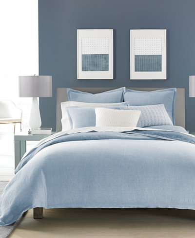 CLOSEOUT! Hotel Collection Cornflower Linen Full/Queen Duvet Cover, Created for Macy's