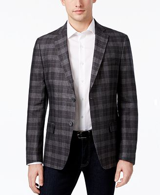 Calvin Klein Men's Slim-Fit Plaid Linen Sport Coat - Blazers ...