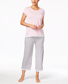 Layla Sweet Things Ruffled Top & Printed Capri Pajama Pants Sleep Separates