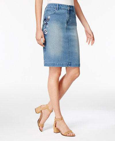 Style & Co Floral-Embroidered Denim Skirt, Only at Macy's - Skirts ...