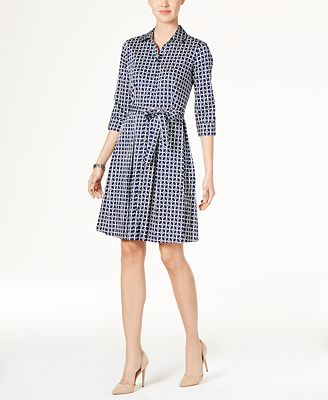 Charter Club Cotton Roll-Tab Printed Shirtdress, Created for Macy's