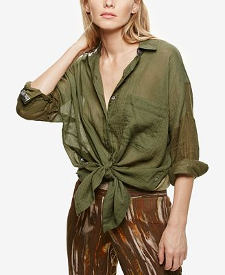 Free People Cotton Sheer Tie-Front Shirt