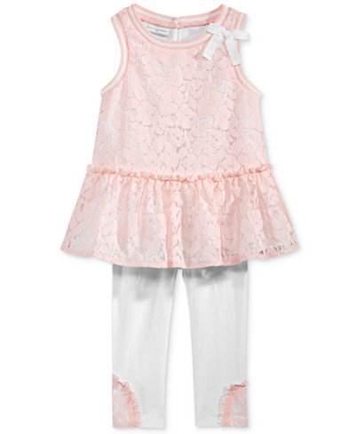 First Impressions 2-Pc. Lace Peplum Tunic & Leggings Set, Baby Girls (0-24 months), Only at Macy's