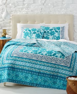 Jessica Simpson Aqua Flora Cotton Reversible Full/Queen Quilt 4426290