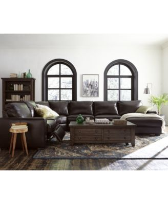 Adken Leather Power Reclining or Stationary Sectional Sofa Collection Created for Macyu0027s  sc 1 st  Macyu0027s : tuxedo sectional sofa - Sectionals, Sofas & Couches