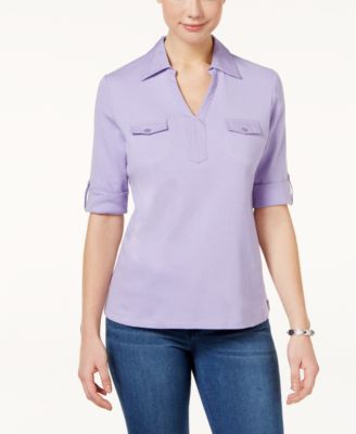 Image of Karen Scott Cotton Utility Polo Top, Only at Macy's