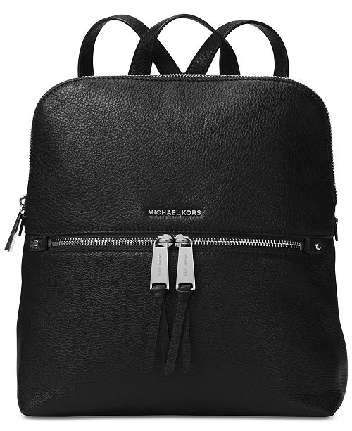 Michael Kors Rhea Slim Pebble Leather Backpack   Reviews - Handbags ... 11ecfa2ac3a88